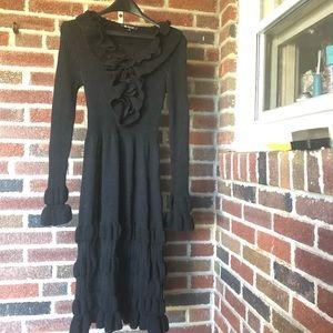 Victorian Goth punk black ruffled dress EUC med